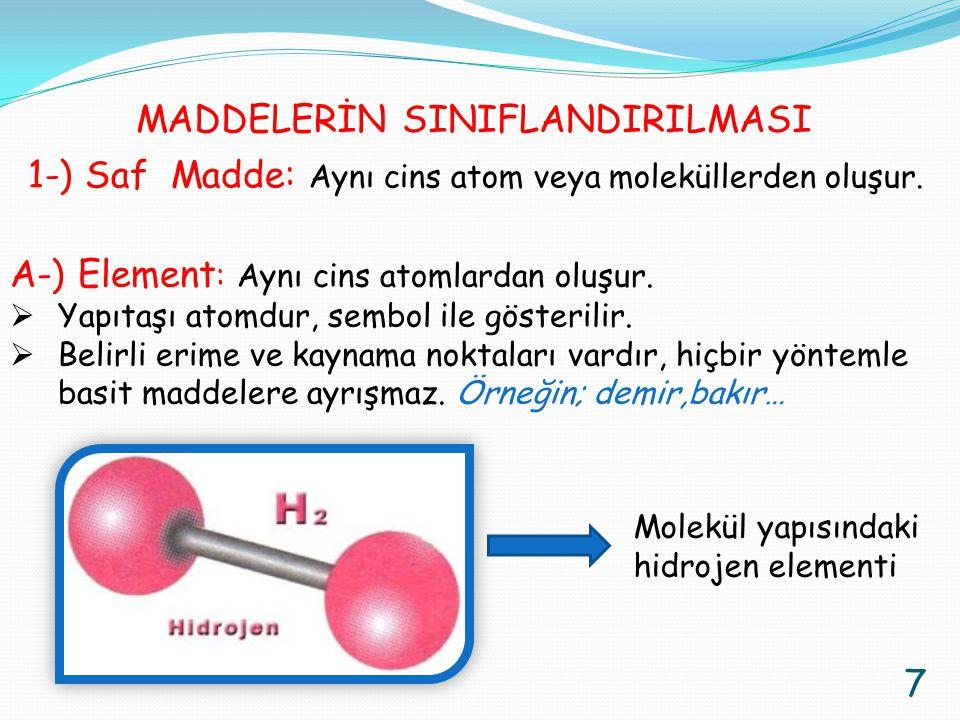 1-) Saf Madde: Aynı cins atom veya moleküllerden oluşur. A-) Element : Aynı cins atomlardan oluşur.  Yapıtaşı atomdur, sembol ile gösterilir.  Belir