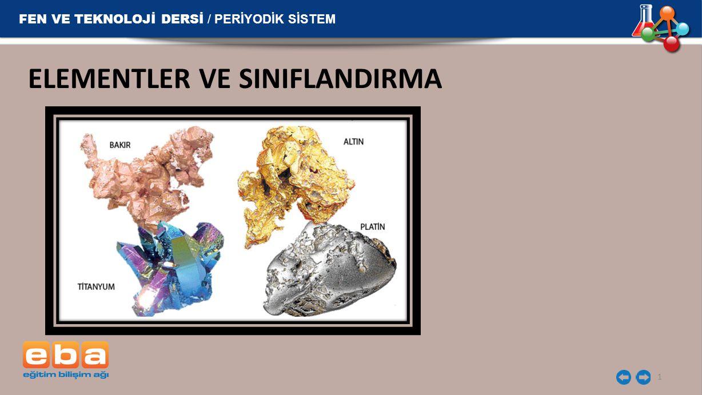 FEN VE TEKNOLOJİ DERSİ / PERİYODİK SİSTEM ELEMENTLER VE SINIFLANDIRMA 1