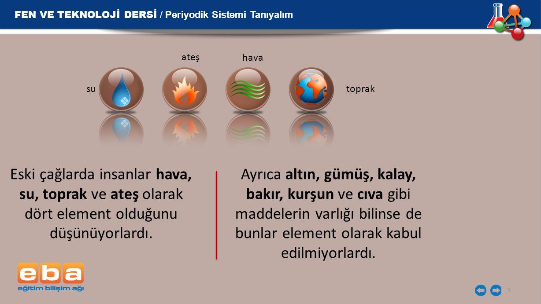 3 Eski çağlarda insanlar hava, su, toprak ve ateş olarak dört element olduğunu düşünüyorlardı. Ayrıca altın, gümüş, kalay, bakır, kurşun ve cıva gibi