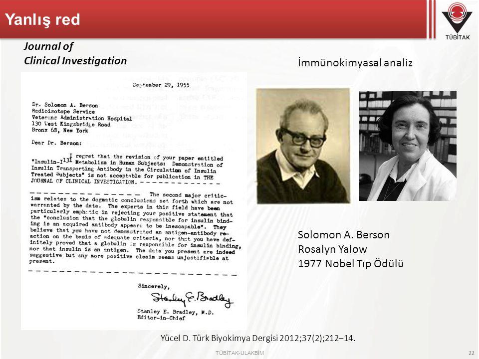 TÜBİTAK TÜBİTAK-ULAKBİM 22 Yanlış red Solomon A. Berson Rosalyn Yalow 1977 Nobel Tıp Ödülü Yücel D. Türk Biyokimya Dergisi 2012;37(2);212–14. Journal