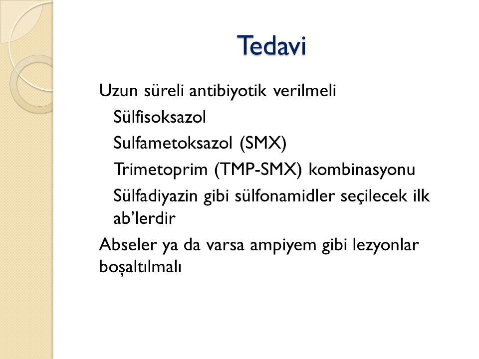 Tedavi Uzun süreli antibiyotik verilmeli ◦ Sülfisoksazol ◦ Sulfametoksazol (SMX) ◦ Trimetoprim (TMP-SMX) kombinasyonu ◦ Sülfadiyazin gibi sülfonamidler seçilecek ilk ab'lerdir Abseler ya da varsa ampiyem gibi lezyonlar boşaltılmalı