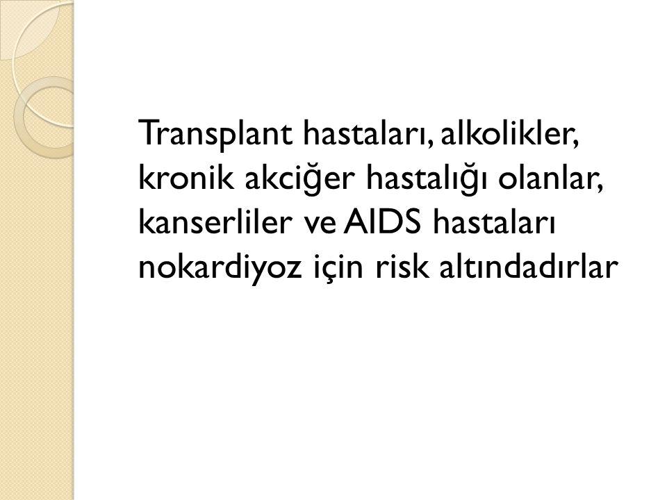 Transplant hastaları, alkolikler, kronik akci ğ er hastalı ğ ı olanlar, kanserliler ve AIDS hastaları nokardiyoz için risk altındadırlar