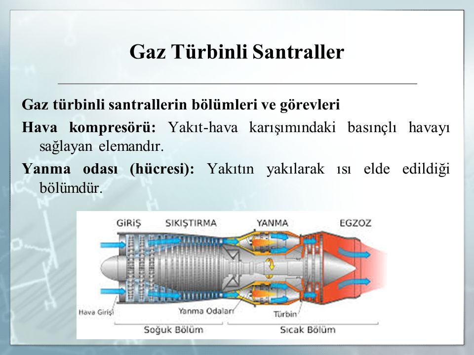 Gaz Türbinli Santraller Gaz türbinli santrallerin bölümleri ve görevleri Hava kompresörü: Yakıt-hava karışımındaki basınçlı havayı sağlayan elemandır.