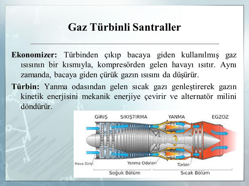 Gaz Türbinli Santraller Ekonomizer: Türbinden çıkıp bacaya giden kullanılmış gaz ısısının bir kısmıyla, kompresörden gelen havayı ısıtır.