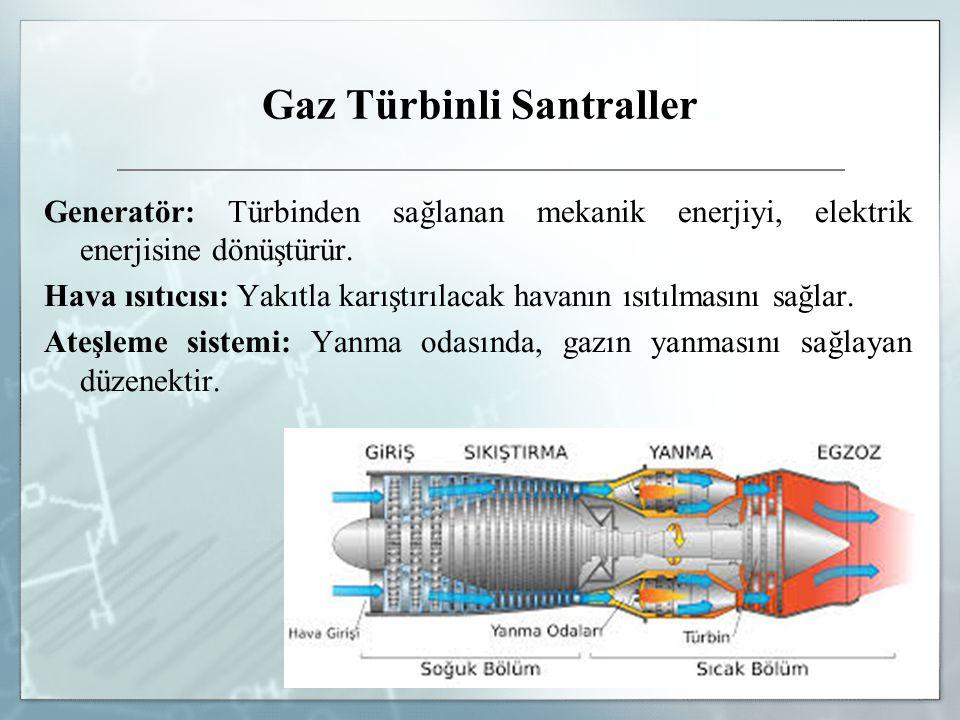 Gaz Türbinli Santraller Generatör: Türbinden sağlanan mekanik enerjiyi, elektrik enerjisine dönüştürür. Hava ısıtıcısı: Yakıtla karıştırılacak havanın