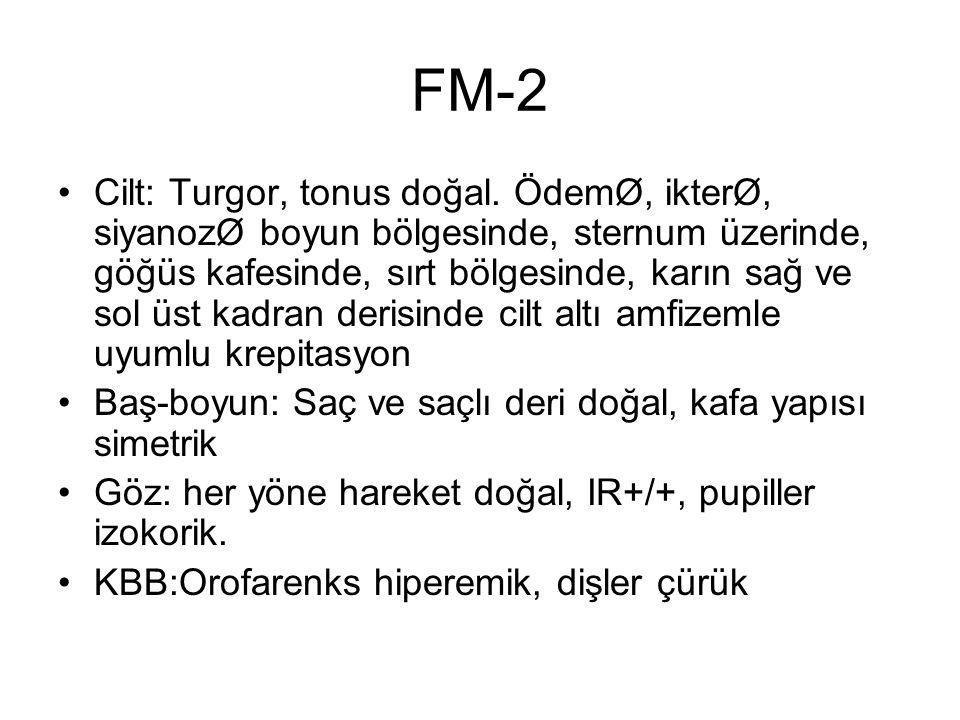 FM-2 Cilt: Turgor, tonus doğal. ÖdemØ, ikterØ, siyanozØ boyun bölgesinde, sternum üzerinde, göğüs kafesinde, sırt bölgesinde, karın sağ ve sol üst kad