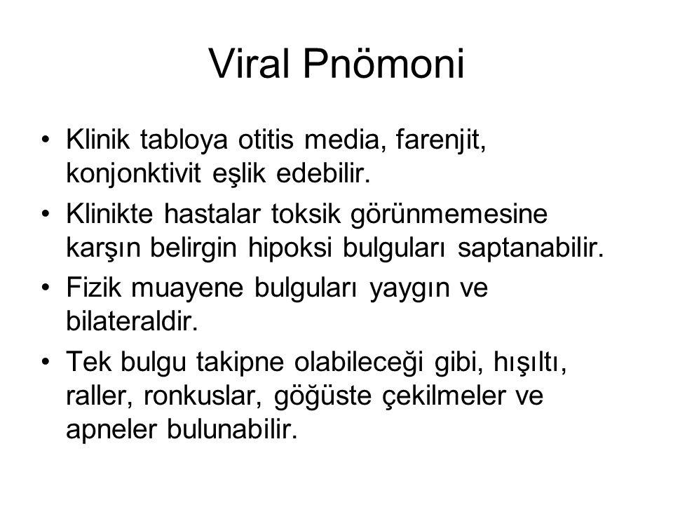 Viral Pnömoni Klinik tabloya otitis media, farenjit, konjonktivit eşlik edebilir.