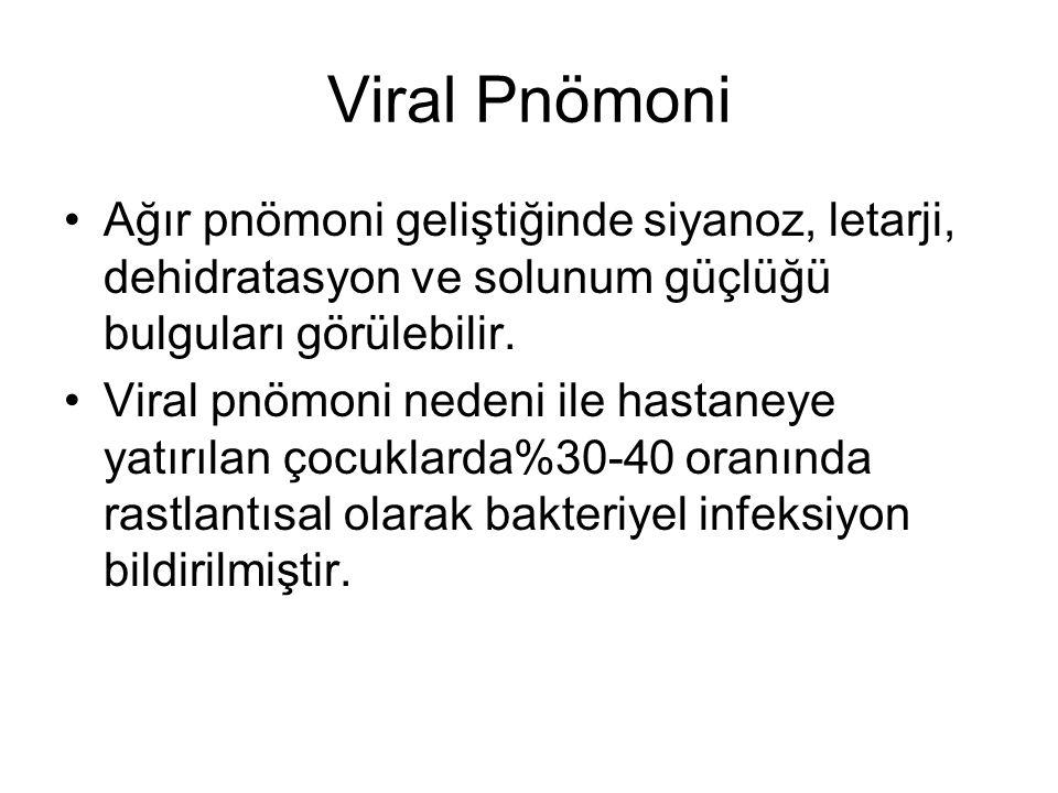 Viral Pnömoni Ağır pnömoni geliştiğinde siyanoz, letarji, dehidratasyon ve solunum güçlüğü bulguları görülebilir. Viral pnömoni nedeni ile hastaneye y