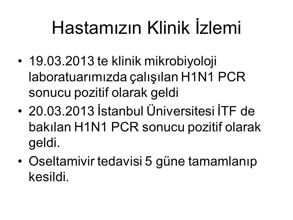 Hastamızın Klinik İzlemi 19.03.2013 te klinik mikrobiyoloji laboratuarımızda çalışılan H1N1 PCR sonucu pozitif olarak geldi 20.03.2013 İstanbul Üniversitesi İTF de bakılan H1N1 PCR sonucu pozitif olarak geldi.