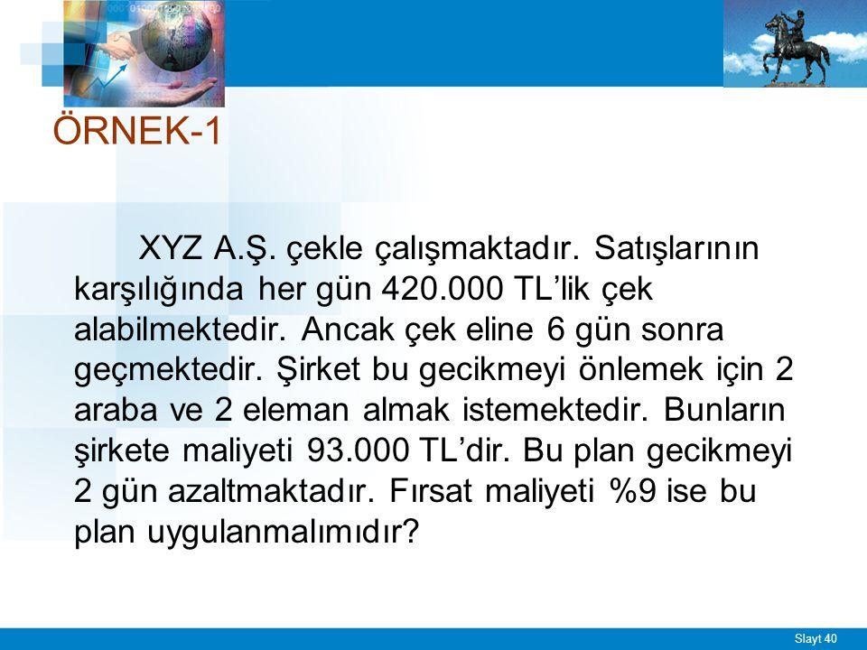 Slayt 40 ÖRNEK-1 XYZ A.Ş. çekle çalışmaktadır. Satışlarının karşılığında her gün 420.000 TL'lik çek alabilmektedir. Ancak çek eline 6 gün sonra geçmek