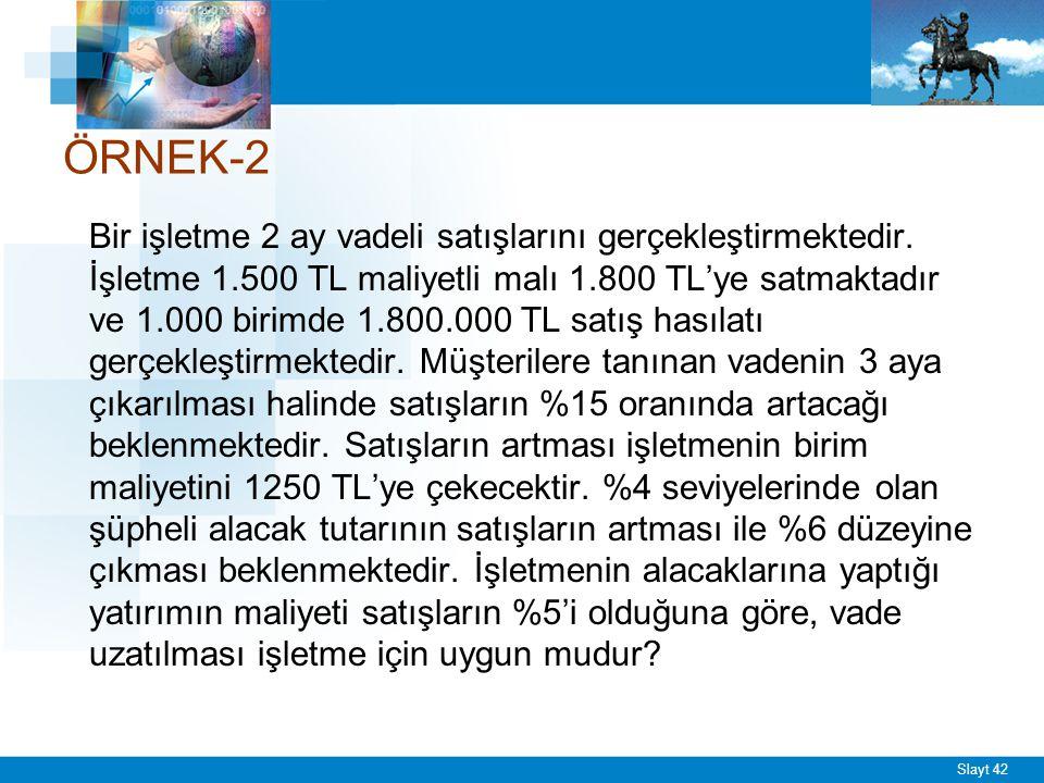 Slayt 42 ÖRNEK-2 Bir işletme 2 ay vadeli satışlarını gerçekleştirmektedir. İşletme 1.500 TL maliyetli malı 1.800 TL'ye satmaktadır ve 1.000 birimde 1.