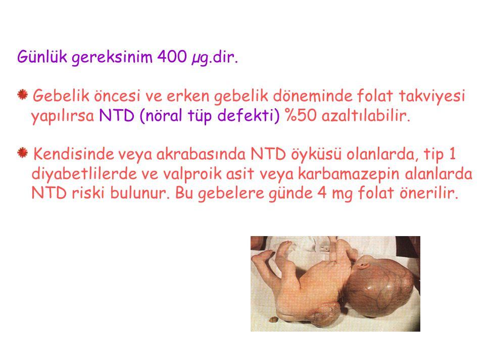 Günlük gereksinim 400 µg.dir. Gebelik öncesi ve erken gebelik döneminde folat takviyesi yapılırsa NTD (nöral tüp defekti) %50 azaltılabilir. Kendisind