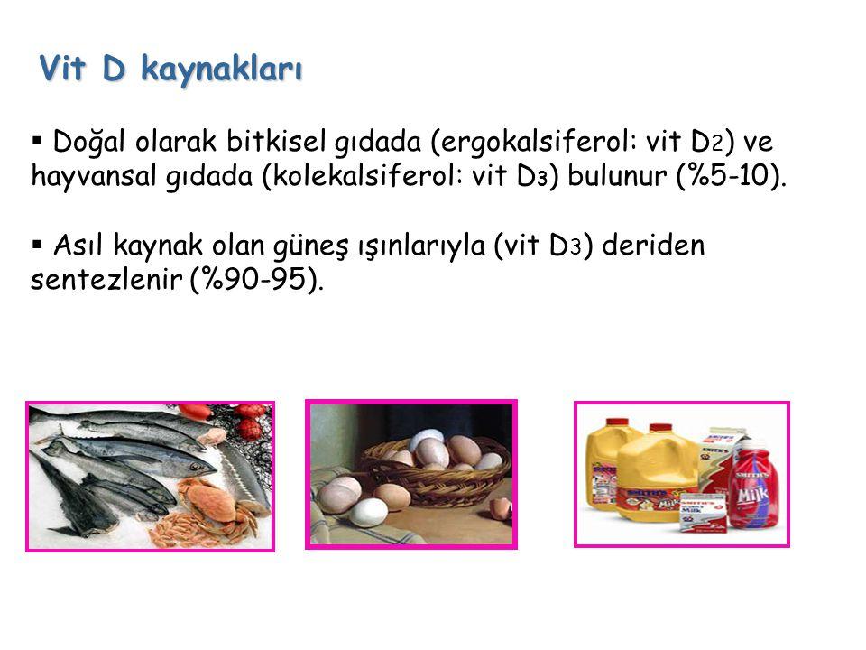 Vit D kaynakları  Doğal olarak bitkisel gıdada (ergokalsiferol: vit D 2 ) ve hayvansal gıdada (kolekalsiferol: vit D 3 ) bulunur (%5-10).  Asıl kayn