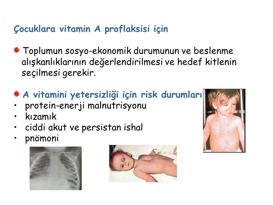 Çocuklara vitamin A proflaksisi için Toplumun sosyo-ekonomik durumunun ve beslenme alışkanlıklarının değerlendirilmesi ve hedef kitlenin seçilmesi gerekir.