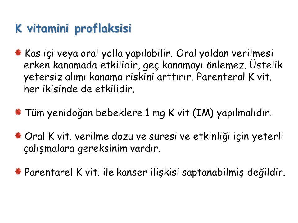 K vitamini proflaksisi Kas içi veya oral yolla yapılabilir.