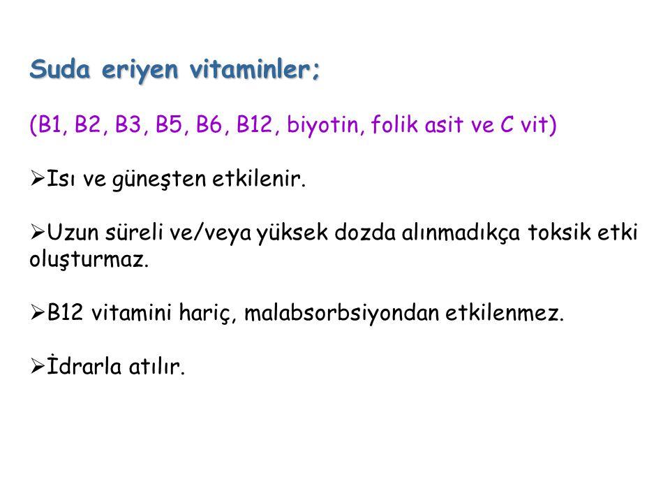 Suda eriyen vitaminler; (B1, B2, B3, B5, B6, B12, biyotin, folik asit ve C vit)  Isı ve güneşten etkilenir.