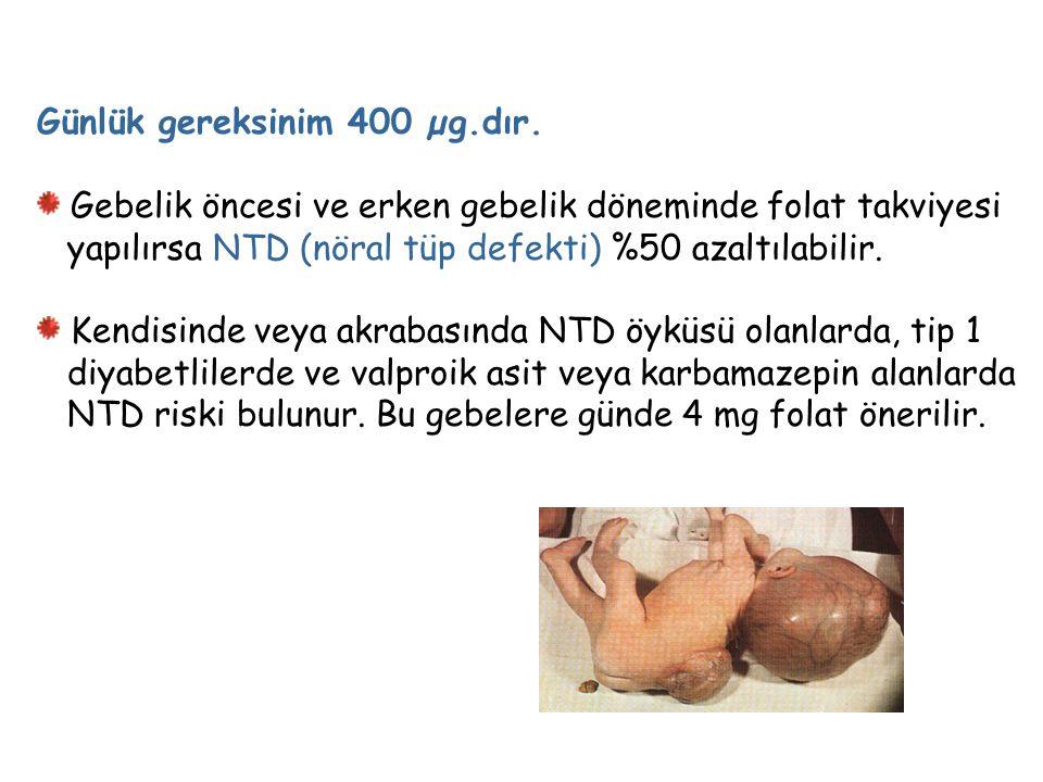 Günlük gereksinim 400 µg.dır. Gebelik öncesi ve erken gebelik döneminde folat takviyesi yapılırsa NTD (nöral tüp defekti) %50 azaltılabilir. Kendisind