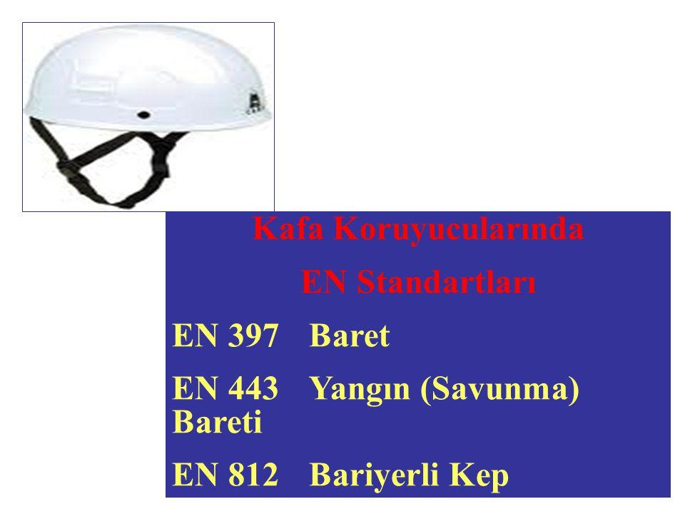 Kafa Koruyucularında EN Standartları EN 397Baret EN 443Yangın (Savunma) Bareti EN 812 Bariyerli Kep