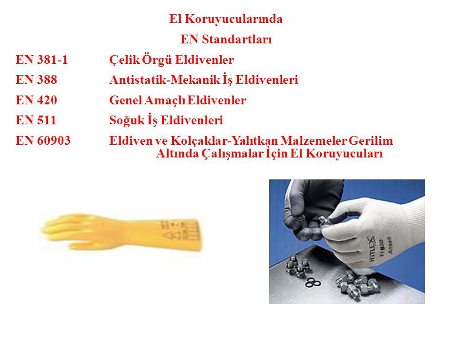 El Koruyucularında EN Standartları EN 381-1Çelik Örgü Eldivenler EN 388Antistatik-Mekanik İş Eldivenleri EN 420Genel Amaçlı Eldivenler EN 511Soğuk İş