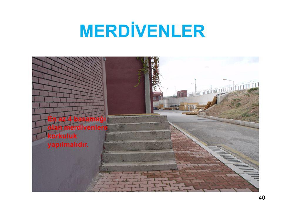 40 MERDİVENLER En az 4 basamağı olan merdivenlere korkuluk yapılmalıdır.