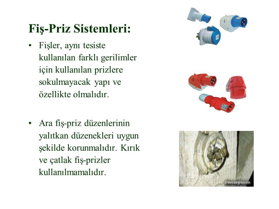 Fiş-Priz Sistemleri: Fişler, aynı tesiste kullanılan farklı gerilimler için kullanılan prizlere sokulmayacak yapı ve özellikte olmalıdır. Ara fiş-priz