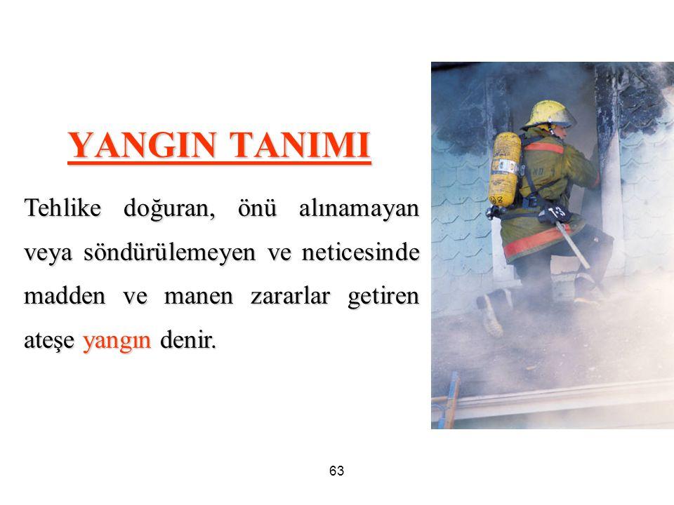 63 YANGIN TANIMI Tehlike doğuran, önü alınamayan veya söndürülemeyen ve neticesinde madden ve manen zararlar getiren ateşe yangın denir.