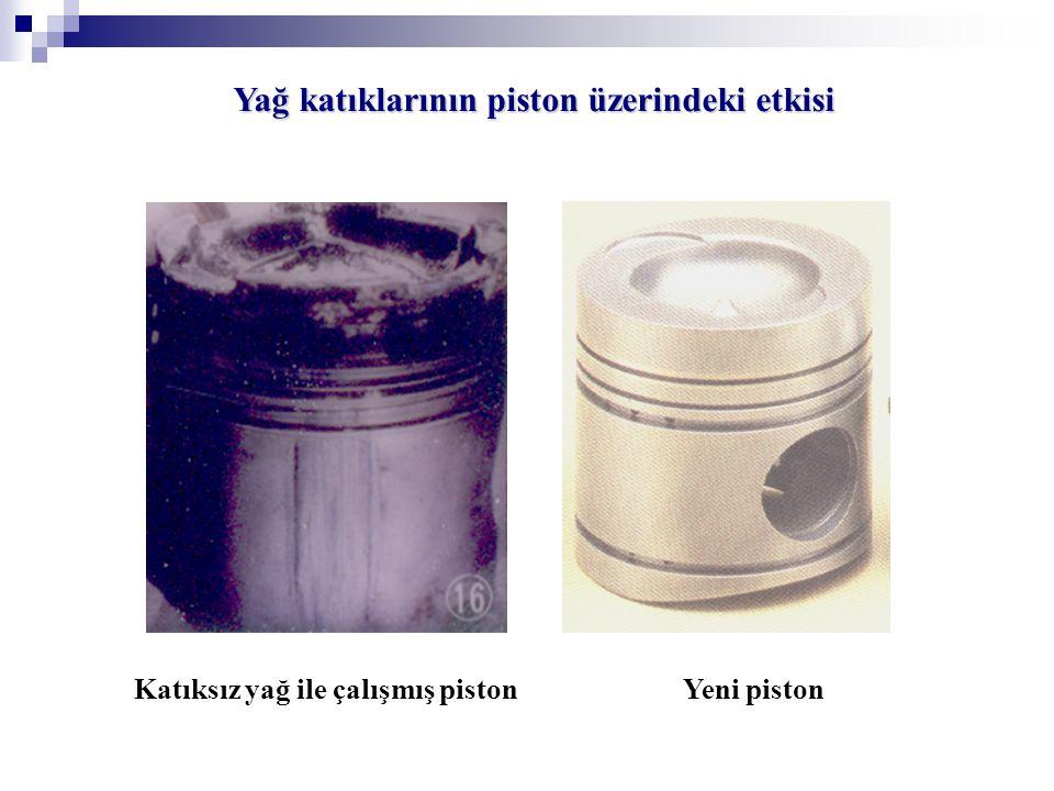 Yağ katıklarının piston üzerindeki etkisi Katıksız yağ ile çalışmış piston Yeni piston
