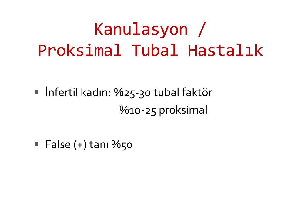 Kanulasyon / Proksimal Tubal Hastalık  İnfertil kadın: %25-30 tubal faktör %10-25 proksimal  False (+) tanı %50