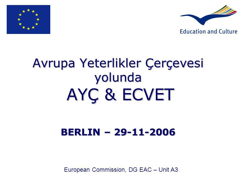 Avrupa Yeterlikler Çerçevesi yolunda AYÇ & ECVET BERLIN – 29-11-2006 European Commission, DG EAC – Unit A3