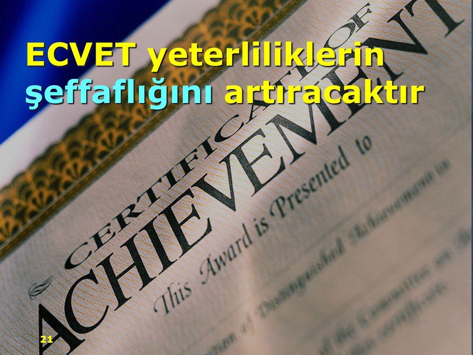ECVET yeterliliklerin şeffaflığını artıracaktır 21