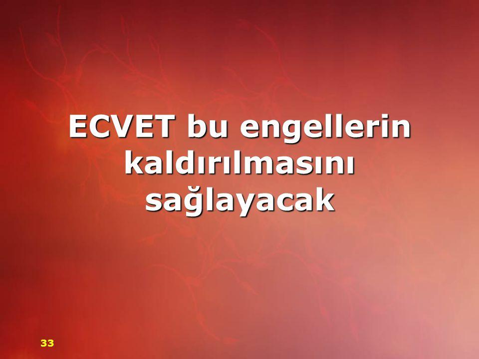 ECVET bu engellerin kaldırılmasını sağlayacak 33