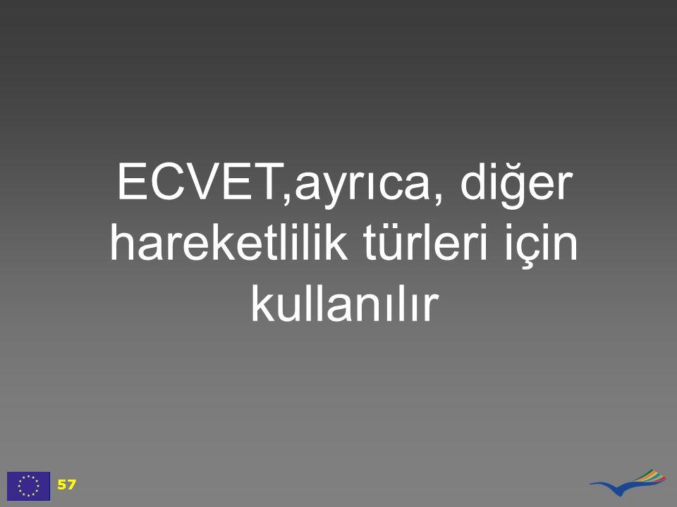 ECVET,ayrıca, diğer hareketlilik türleri için kullanılır 57