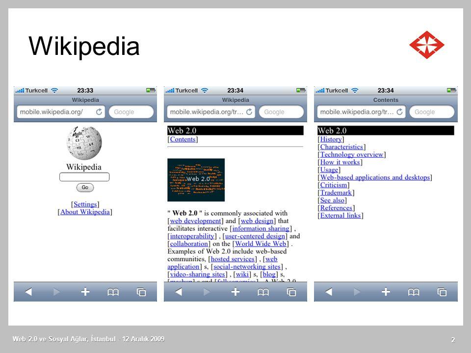 Wikipedia Web 2.0 ve Sosyal Ağlar, İstanbul - 12 Aralık 2009 2