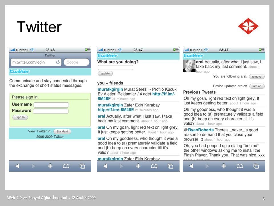 Twitter Web 2.0 ve Sosyal Ağlar, İstanbul - 12 Aralık 2009 3
