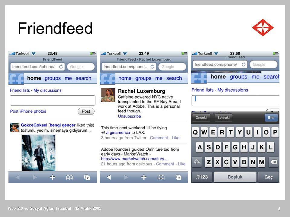 Friendfeed Web 2.0 ve Sosyal Ağlar, İstanbul - 12 Aralık 2009 4