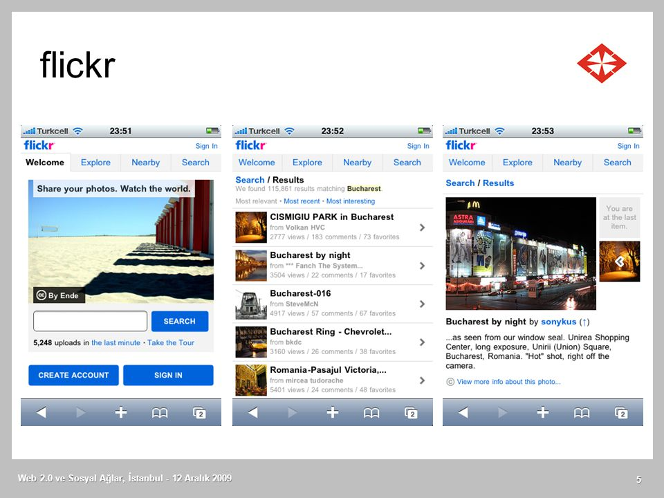 flickr Web 2.0 ve Sosyal Ağlar, İstanbul - 12 Aralık 2009 5