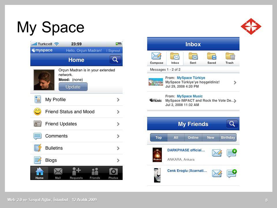 My Space Web 2.0 ve Sosyal Ağlar, İstanbul - 12 Aralık 2009 8