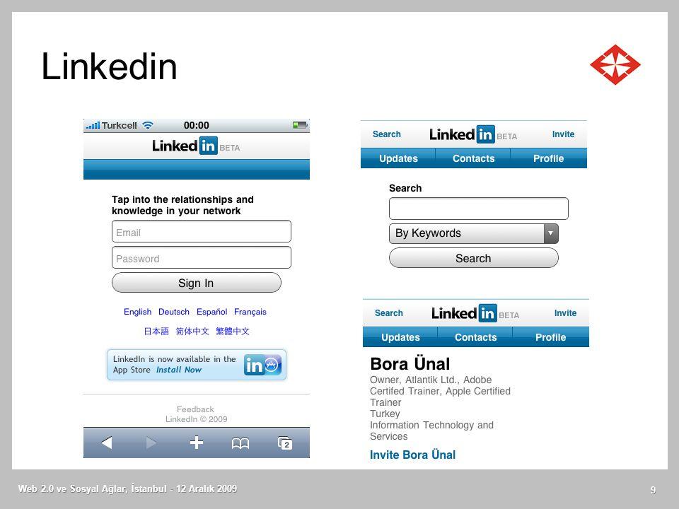 Linkedin Web 2.0 ve Sosyal Ağlar, İstanbul - 12 Aralık 2009 9