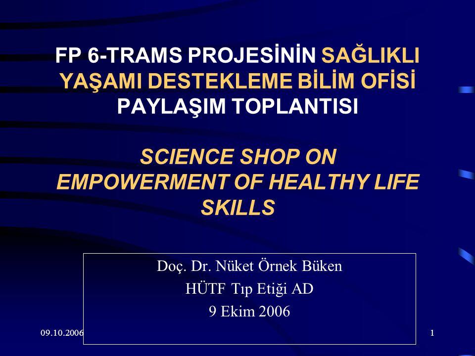 09.10.20061 FP 6-TRAMS PROJESİNİN SAĞLIKLI YAŞAMI DESTEKLEME BİLİM OFİSİ PAYLAŞIM TOPLANTISI SCIENCE SHOP ON EMPOWERMENT OF HEALTHY LIFE SKILLS Doç.