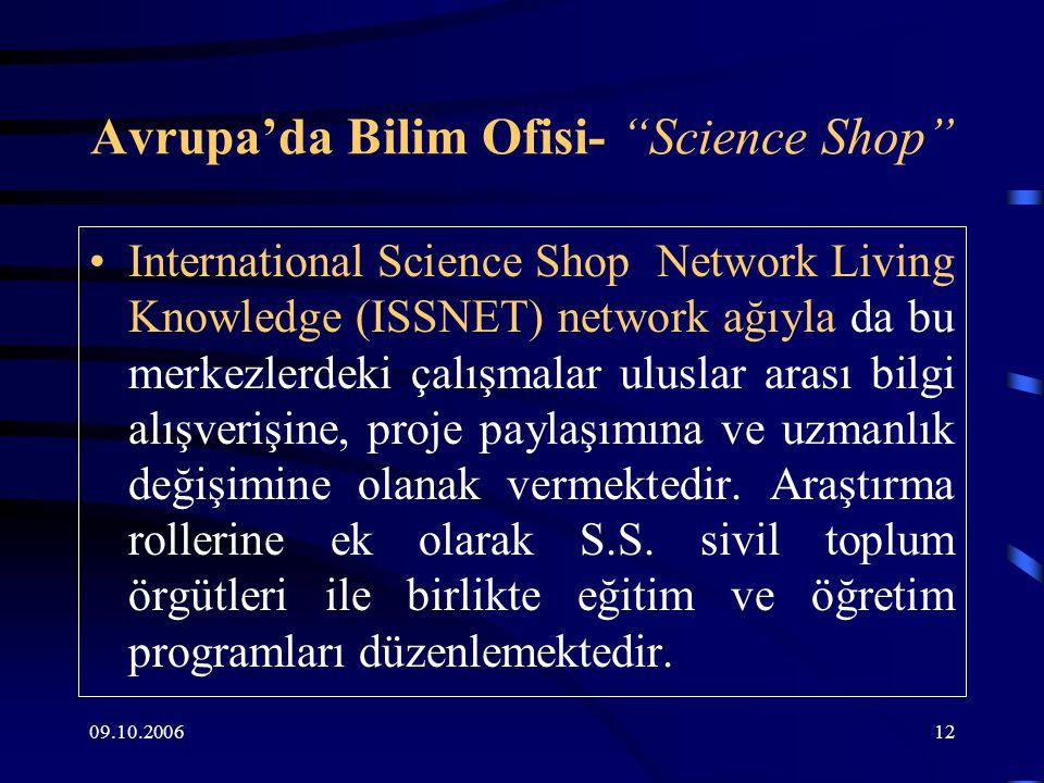 09.10.200612 Avrupa'da Bilim Ofisi- Science Shop International Science Shop Network Living Knowledge (ISSNET) network ağıyla da bu merkezlerdeki çalışmalar uluslar arası bilgi alışverişine, proje paylaşımına ve uzmanlık değişimine olanak vermektedir.