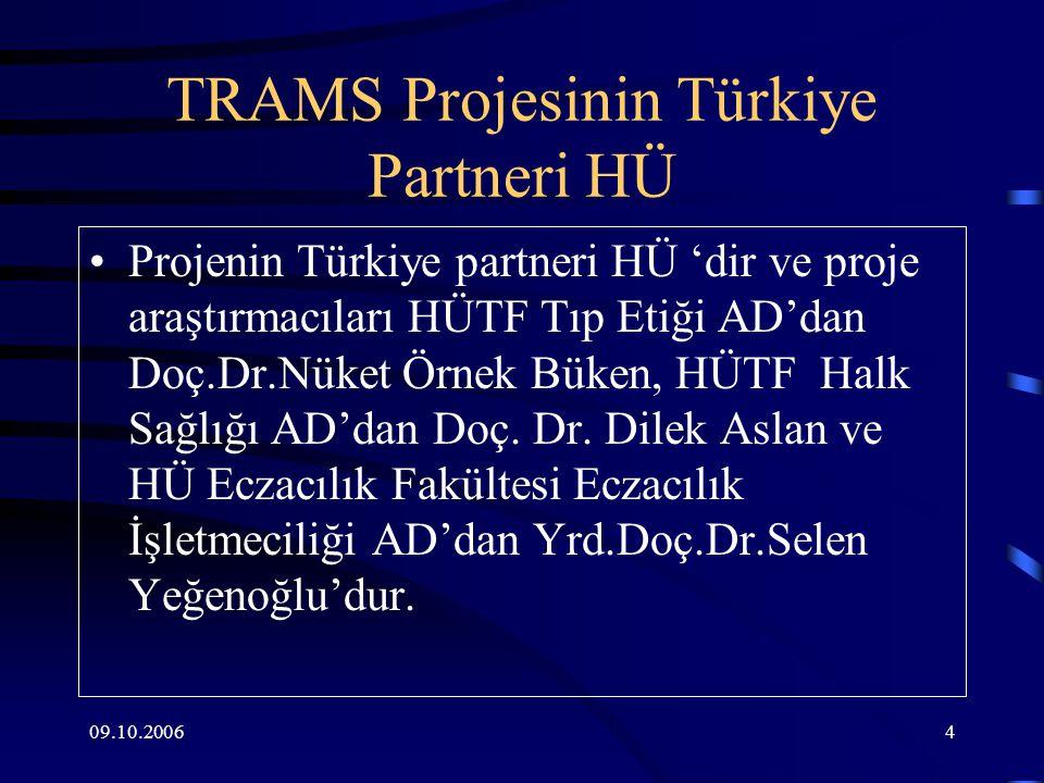 09.10.20064 TRAMS Projesinin Türkiye Partneri HÜ Projenin Türkiye partneri HÜ 'dir ve proje araştırmacıları HÜTF Tıp Etiği AD'dan Doç.Dr.Nüket Örnek Büken, HÜTF Halk Sağlığı AD'dan Doç.
