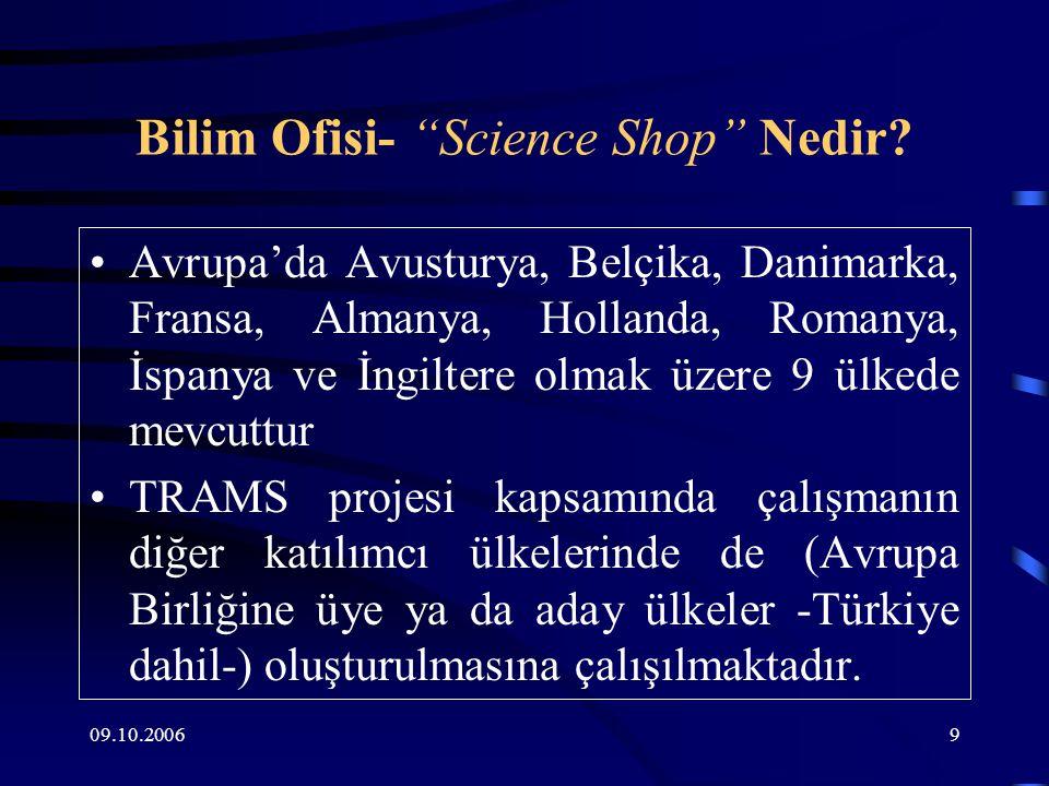 09.10.200610 Avrupa'da Bilim Ofisi- Science Shop Temel olarak yerel örgütler olup, o toplumun kendi ihtiyaçlarına çözüm üretmeyi amaçlar ve yerel koşullarda çalışır.
