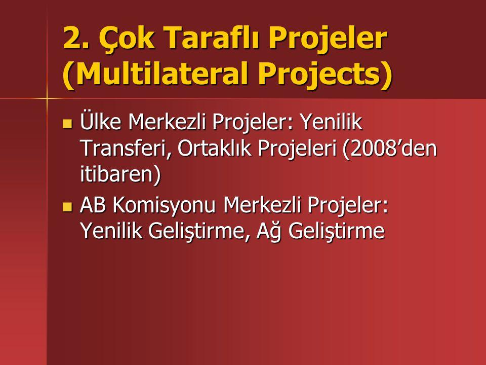 2. Çok Taraflı Projeler (Multilateral Projects) Ülke Merkezli Projeler: Yenilik Transferi, Ortaklık Projeleri (2008'den itibaren) Ülke Merkezli Projel