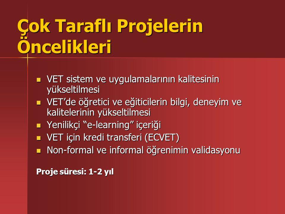 Çok Taraflı Projelerin Öncelikleri VET sistem ve uygulamalarının kalitesinin yükseltilmesi VET sistem ve uygulamalarının kalitesinin yükseltilmesi VET