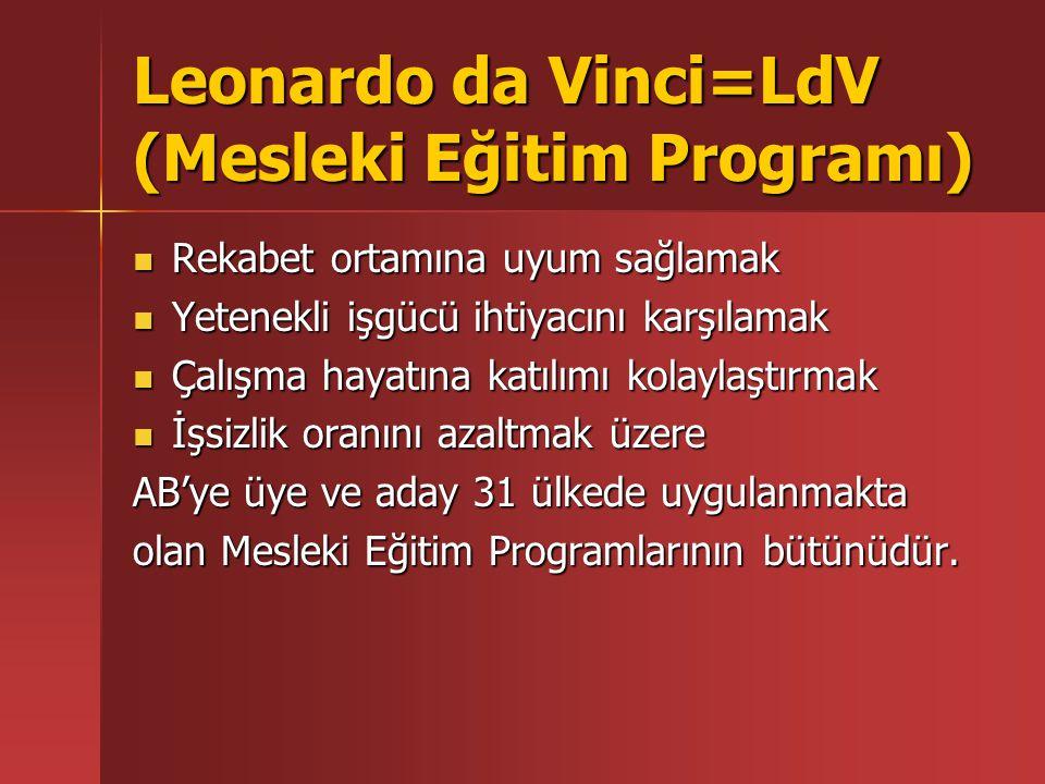 Leonardo da Vinci=LdV (Mesleki Eğitim Programı) Rekabet ortamına uyum sağlamak Rekabet ortamına uyum sağlamak Yetenekli işgücü ihtiyacını karşılamak Y
