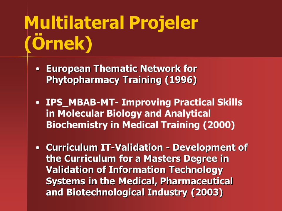European Thematic Network for Phytopharmacy Training (1996)European Thematic Network for Phytopharmacy Training (1996) IPS_MBAB-MT- Improving Practica