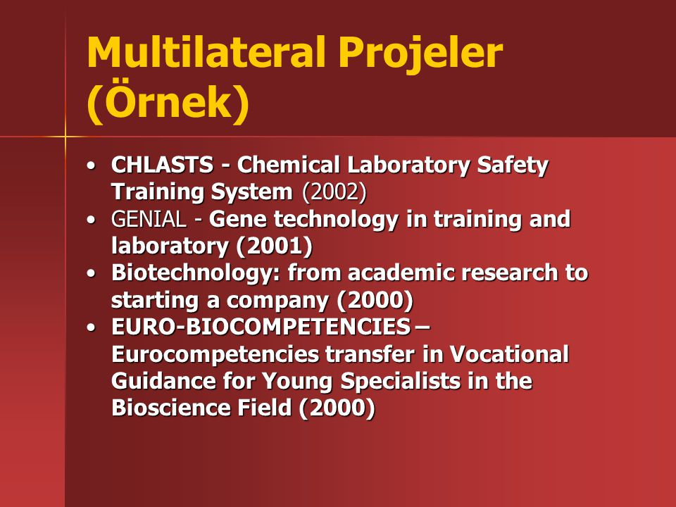 CHLASTS - Chemical Laboratory Safety Training System (2002)CHLASTS - Chemical Laboratory Safety Training System (2002) GENIAL - Gene technology in training and laboratory (2001)GENIAL - Gene technology in training and laboratory (2001) Biotechnology: from academic research to starting a company (2000)Biotechnology: from academic research to starting a company (2000) EURO-BIOCOMPETENCIES – Eurocompetencies transfer in Vocational Guidance for Young Specialists in the Bioscience Field (2000)EURO-BIOCOMPETENCIES – Eurocompetencies transfer in Vocational Guidance for Young Specialists in the Bioscience Field (2000)
