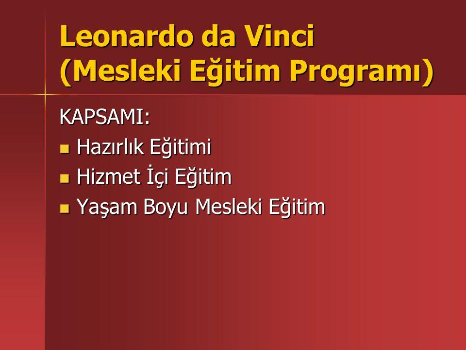Leonardo da Vinci (Mesleki Eğitim Programı) KAPSAMI: Hazırlık Eğitimi Hazırlık Eğitimi Hizmet İçi Eğitim Hizmet İçi Eğitim Yaşam Boyu Mesleki Eğitim Y