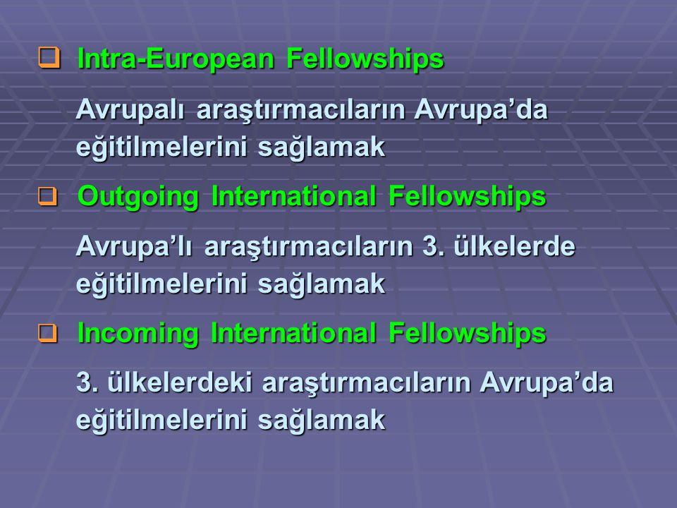  Intra-European Fellowships Avrupalı araştırmacıların Avrupa'da Avrupalı araştırmacıların Avrupa'da eğitilmelerini sağlamak eğitilmelerini sağlamak  Outgoing International Fellowships Avrupa'lı araştırmacıların 3.