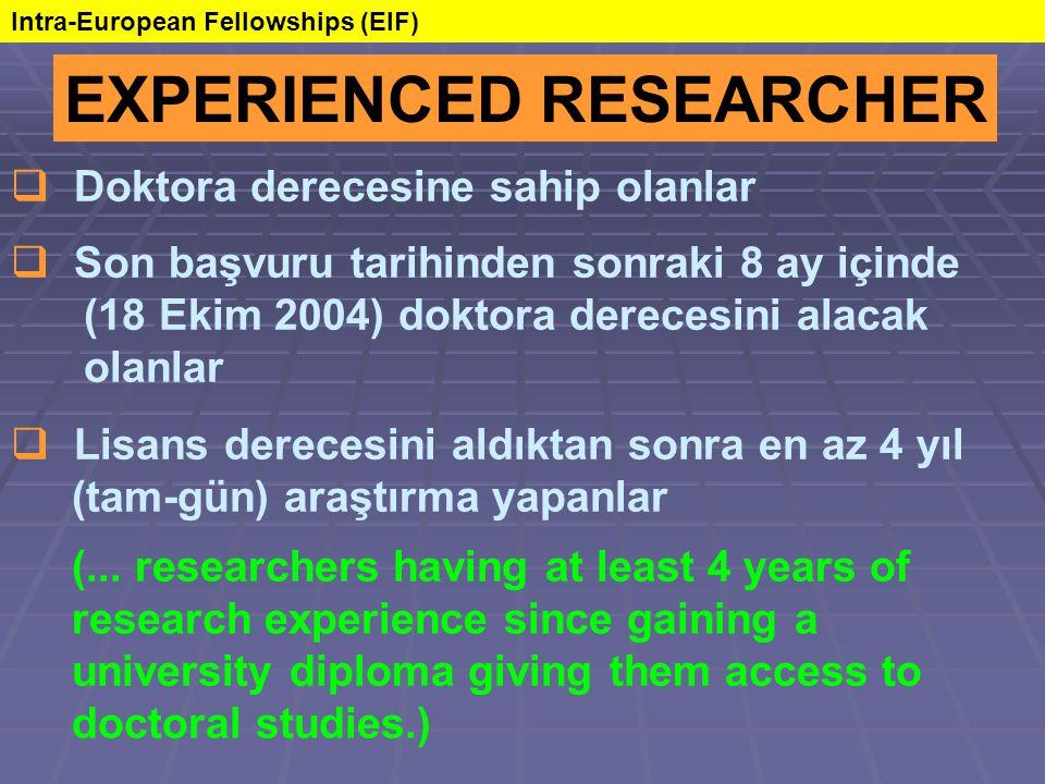 EXPERIENCED RESEARCHER  Doktora derecesine sahip olanlar  Son başvuru tarihinden sonraki 8 ay içinde (18 Ekim 2004) doktora derecesini alacak olanlar  Lisans derecesini aldıktan sonra en az 4 yıl (tam-gün) araştırma yapanlar (...